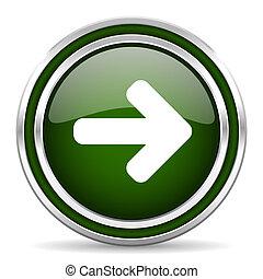 right arrow green glossy web icon