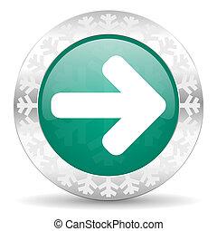 right arrow green icon, christmas button, arrow sign