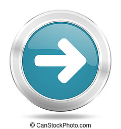 right arrow icon, blue round glossy metallic button, web and mobile app design illustration
