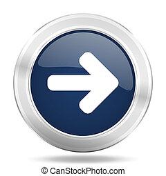 right arrow icon, dark blue round metallic internet button, web and mobile app illustration