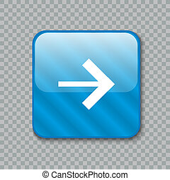 Right arrow icon. Glossy blue button. illustration