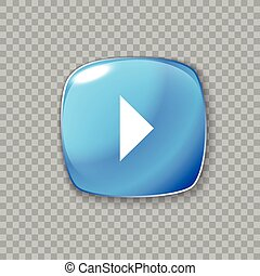 Right arrow icon. Glossy blue button. Vector illustration