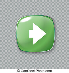 Right arrow icon. Glossy green button. illustration