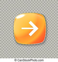 Right arrow icon. Glossy orange button. Vector illustration