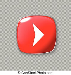 Right arrow icon. Glossy red button. Vector illustration