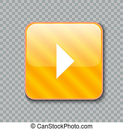 Right arrow icon. Glossy yellow button. illustration