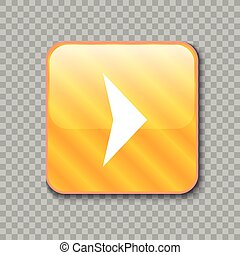 Right arrow icon. Glossy yellow button. Vector illustration