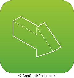 Right arrow icon green vector