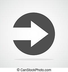 Right arrow icon. Vector illustration.