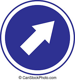 right arrow in circle blue sign
