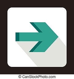 Right arrow on white background icon, flat style