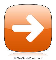 right arrow orange square web design glossy icon