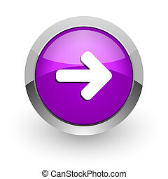 right arrow pink glossy web icon