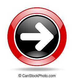 right arrow red and black web glossy round icon