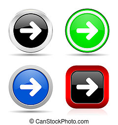 Right arrow red, blue, green and black web glossy icon set in 4 options