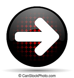 right arrow red glossy web icon