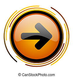 right arrow round design orange glossy web icon