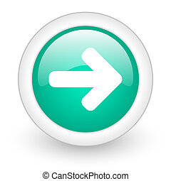 right arrow round glossy web icon on white background