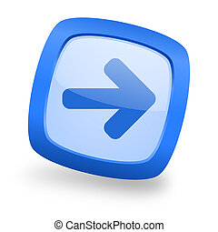 right arrow square glossy blue web design icon