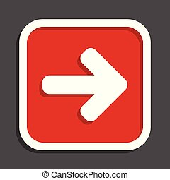 Right arrow vector icon. Flat design square internet red button.