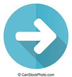 Right arrow vector icon, next flat design blue round web button isolated on white background