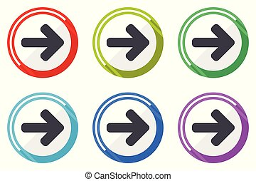 Right arrow vector icons, set of colorful flat design internet symbols on white background