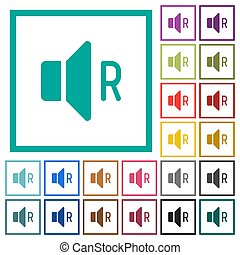 Right audio channel flat color icons with quadrant frames on...