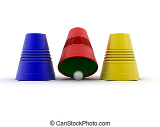 Right choice. Three plastic cup with sphere. Game. 3d - ...