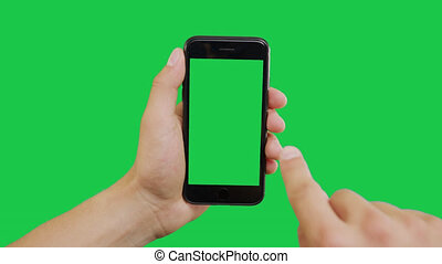 Right Click Smartphone Green Screen. Pointing Finger Clicking On Phone Screen with Green Background. Use in any project that depicts finger, gesture, touchscreen and the like.