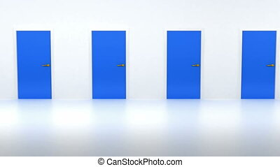 Right decision: red door among blue. Loopable
