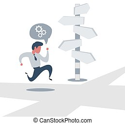 Right direction. A businessman looks at arrows pointing to many directions.