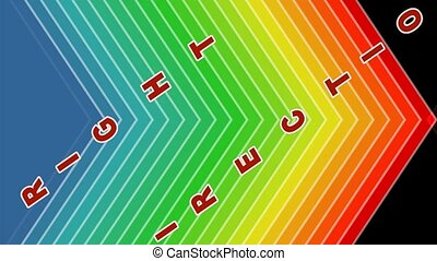 Right direction, animated arrows shape in spectrum colors,...