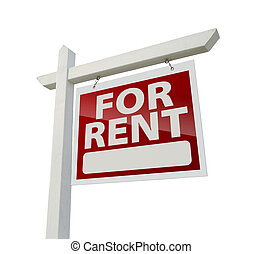 Right Facing For Rent Real Estate Sign on White - Right...