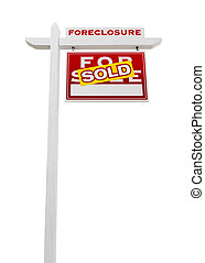 Right Facing Foreclosure Sold For Sale Real Estate Sign...