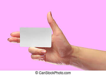 Right Female Hand Hold Blank White Card Mock-up. SIM Cellular Plastic NFC Smart Tag Call-card Mock Up Template. Credit Namecard or Transport Ticket. Christmas Store Discount Loyalty Gift. Copy space.