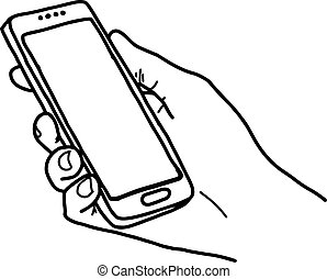 right hand holding big smartphone with home button and blank screen - vector illustration sketch hand drawn with black lines, isolated on white background