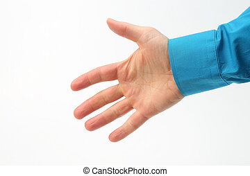 right hand of man on white background