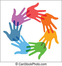 Right Hand Print icon 7 colors, vector illustration