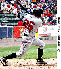 Right-handed baseball batter, swinging