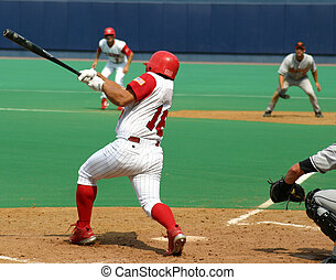 Right-handed batter getting a hit