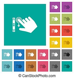 Right handed scroll down gesture square flat multi colored ...