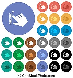 Right handed scroll up gesture round flat multi colored ...
