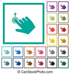 Right handed slide up gesture flat color icons with quadrant...