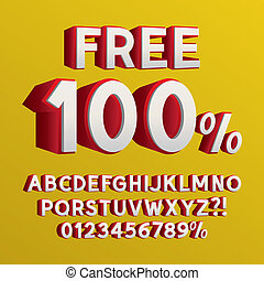 Right Isometric 3D Font and Numbers, Eps 10 Vector