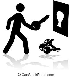 Right key - Concept illustration showing a person holding ...