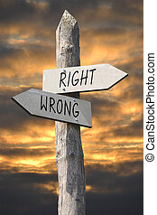 Right or wrong signpost