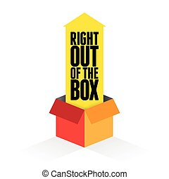 Vector illustration of yellow arrow coming out from a box with text right out of the box.
