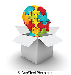 Business concept with box and head made of puzzle. It can be use for different concepts such smart business decision, smart person, creative thinking etc. Puzzle symbolize strengths of connection between different parts in business or concepts that you want to introduce.