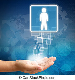 Right Person employee in hand on Abstract business ...
