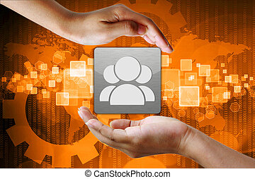 Right Person employee in hand on Abstract business...